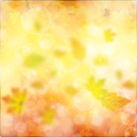 background card: Autumn background with leaves eps10