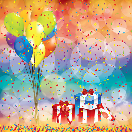 Happy birthday background with balloon and gifts Çizim