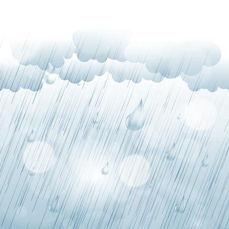 Rainy autumn background journée avec des gouttes de pluie et les nuages Illustration