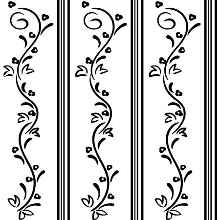 black and white flowers: Seamless Hand drawn vector swirl flower pattern