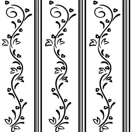 marcos decorativos: Seamless vector dibujado a mano patrón de flores remolino Vectores