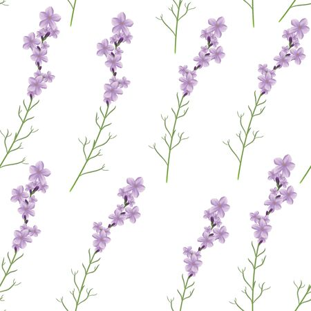officinalis: Seamless realistic lavender flower vector illustration pattern Illustration