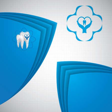 carious cavity: Dental illustration brochure blue design Illustration