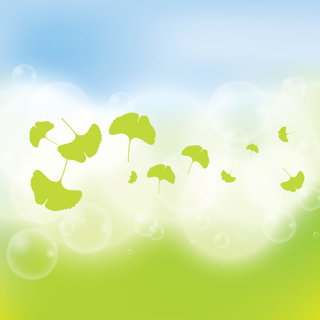 BANNER DESIGN: Abstract green ginkgo biloba background Illustration