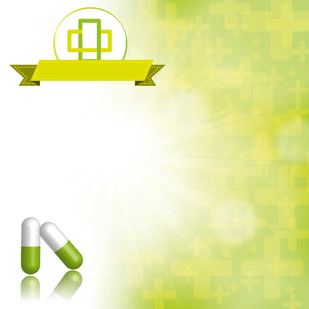 medical preparation: Medical abstract green white background Illustration