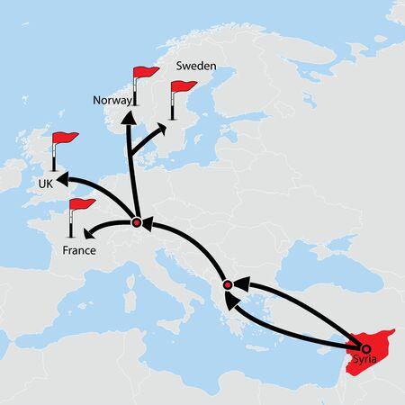 Allochtone route uit Syrië. Bestemmingen op vector kaart