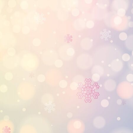 Abstract winter light colors snowflakes background