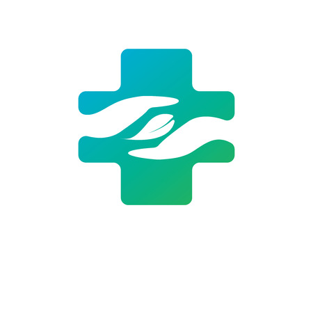 medical cross symbol: Abstract medical blue green pharmacy sign symbol