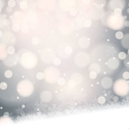 december background: Abstract winter silver snowflakes background Illustration