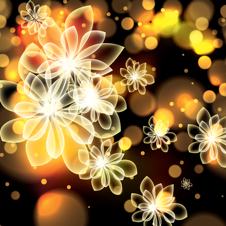spring summer: Colorful summer spring glowing flowers background Illustration