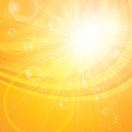 sol radiante: Fondo abstracto soleado. Hola primavera, verano Vectores