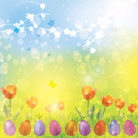 butterfly background: Easter spring colorful vector illustration