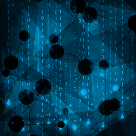 Abstract molecule blue matrix background