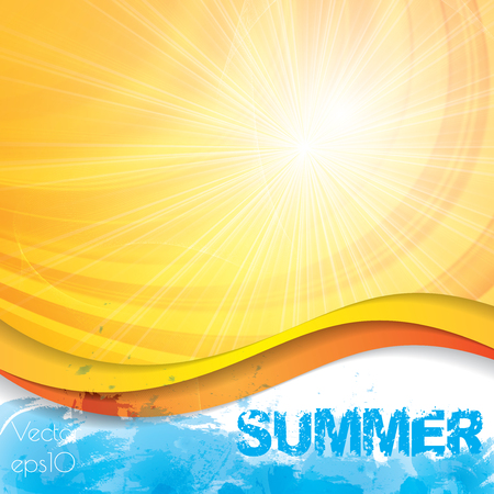 sunrise ocean: Sunny summer abstract sun ray background Illustration