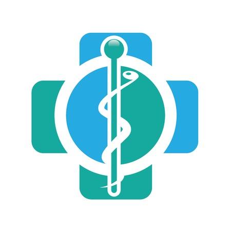 medicine logo: Abstract medical blue green pharmacy sign symbol