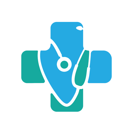 estetoscopio: Médica azul farmacia verde símbolo abstracto Vectores