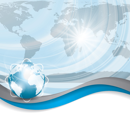 Business vector blue silver background global concept Illustration