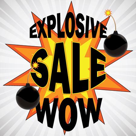 bomb price: Explosive sale wow awareness design with bomb illustration Illustration