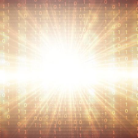 frid: Abstract tech binary golden 3d background Illustration