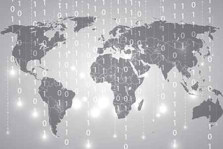 frid: Abstract tech binary silver global background