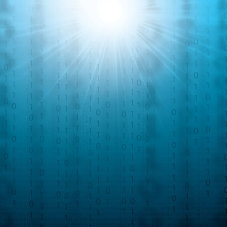 Abstract tech binary blue 3d background Illustration