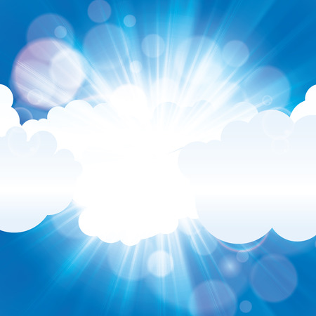 blue ray: Beautiful sun ray in the clouds with blue sky
