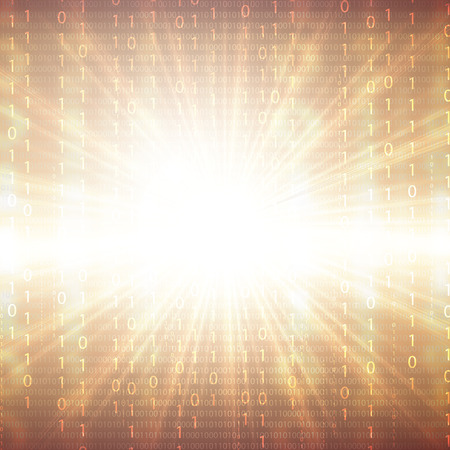 Abstract tech binary golden 3d background Illustration