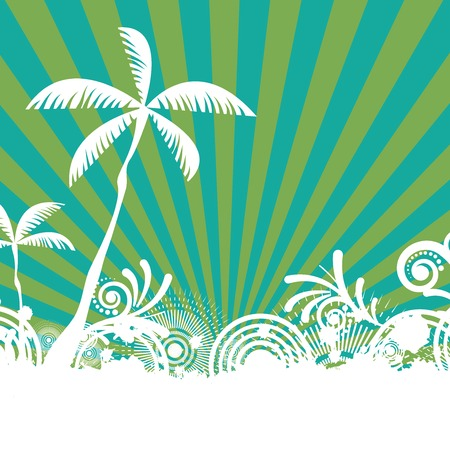 summer holiday: Summer tropical holiday green background