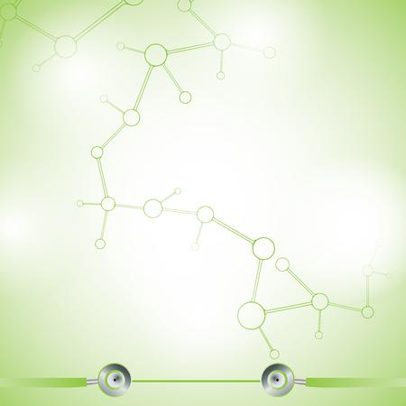 Streszczenie cząsteczka zielone kolory tła