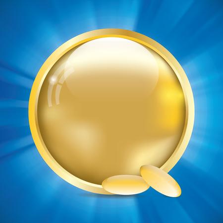 omega 3: Abstract golden omega 3 medical background