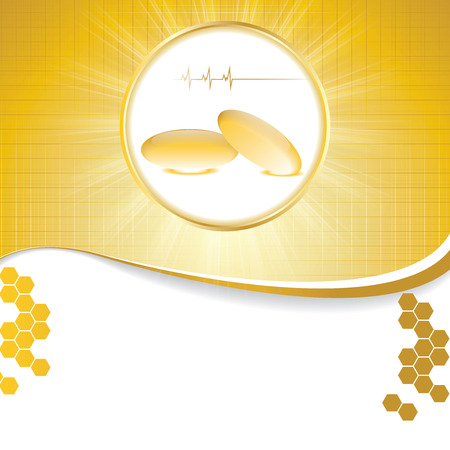 Abstract golden omega 3 medical background