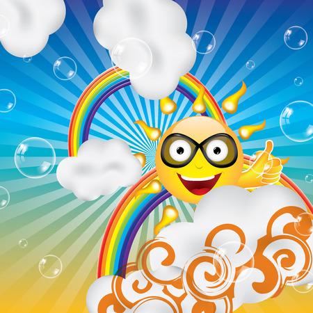 rainbow abstract: Abstract cartoon sun clouds and rainbow background Illustration