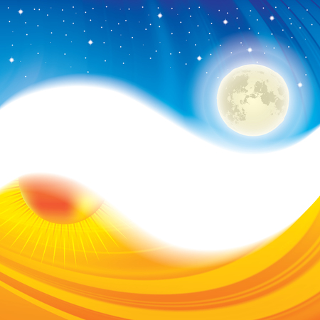 karma design: Day and night ying yang concept background Illustration