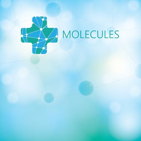 light green: Abstract medical molecule green light background