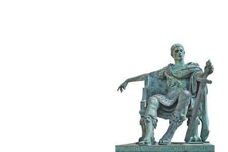 constantine: Bronze statue of Constantine Isolated Stock Photo