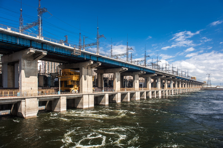 electric generating plant: Dam of hydroelectric power plant in Volgograd Russia