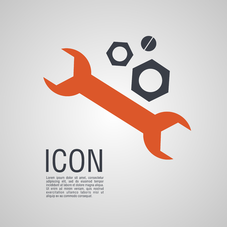 Vector icons in the form of wrench and nuts. Pin symbol for your web site design, logo, app, UI.