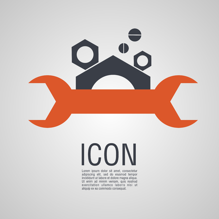 Vector icons in the form of wrench and nuts. Pin symbol for your web site design. Illustration