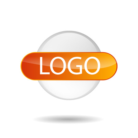 globe logo: Vector illustration of logo in the form of glass, transparent circle with sign and place for text. Use in design.