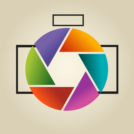 Multi-colored vector logo in the form of lens and diaphragm of photoappar on light background. Illustration