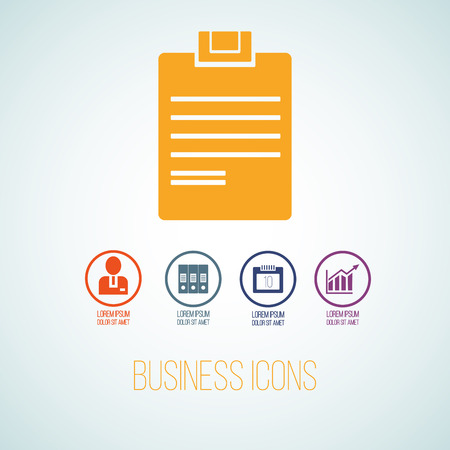Vector illustration of business icon in the form of tablet for writing. Flat additional symbols for business and web graphics.