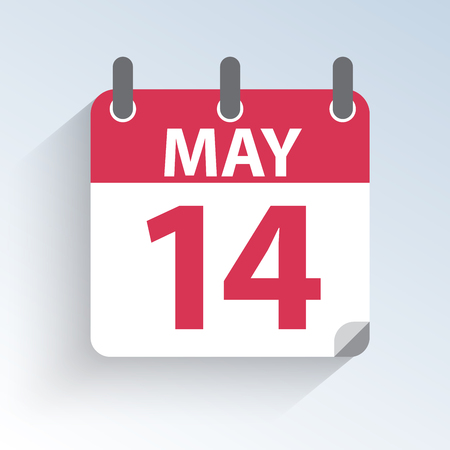 Vector illustration of the calendar of May 14 Mothers Day in the USA. Holiday day icon on light background.