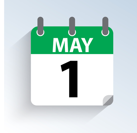 Vector illustration of calendar May 1st holiday of labor and work. daylight icon on light background.