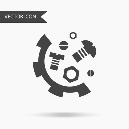 A business icon gears nuts and bolts. Icon for for annual reports, charts, presentations, workflow layout, banner, number options, step up options, web design. Contemporary flat design.