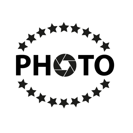 Icon and logo for photographer with asterisks and aperture. Illustration