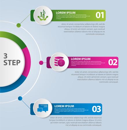Vektor-Illustration Vorlage mit einem Kreis, der in zwei Hälften und drei Teile unterteilt ist, für Infografiken, Unternehmen, Präsentationen, Webdesign, das Konzept des Startens mit 3 Optionen, Schritten, Diagramm.