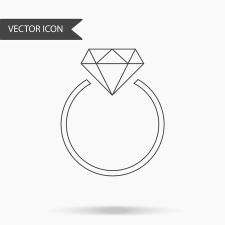 Vector illustration of an icon with a beautiful ring. Wedding ring with diamond on isolated background. Flat design.