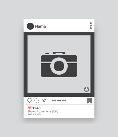 Social application. Vector frame mobile application for photo with icons.