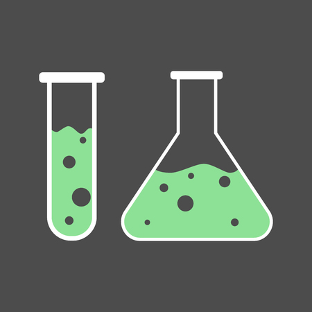 toxic substance: Vector illustration of two chemical flasks. Flat icon