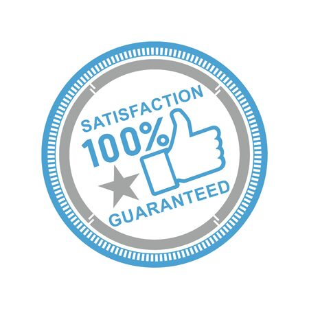 seal of approval: Vector illustration of a round icon satisfaction is guaranteed with asterisks on a white background.